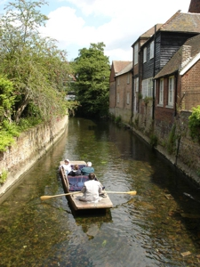 Punting on the mill stream - click for larger image
